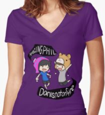 AmazingPhil and Danisnotonfire Women's Fitted V-Neck T-Shirt