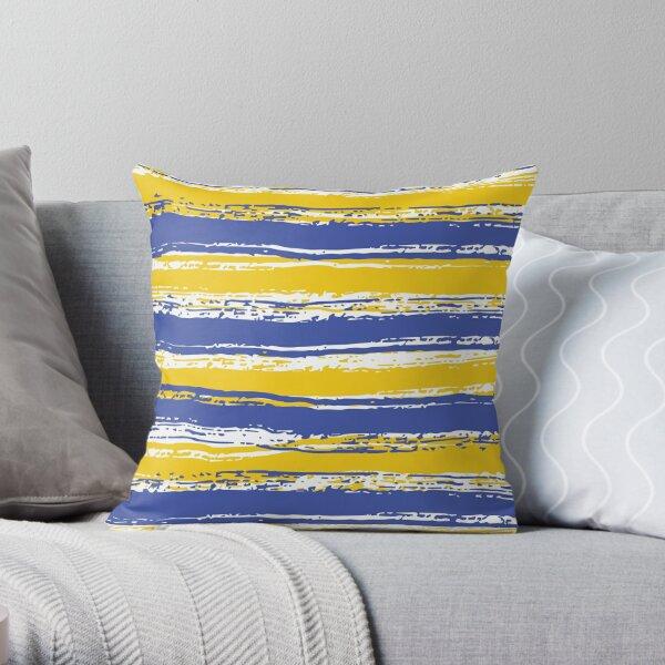 Horizontal Blue,White & Yellow Stripes Throw Pillow