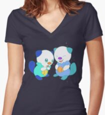Hey, you look different! ( Oshawott ) Women's Fitted V-Neck T-Shirt