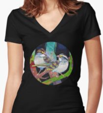 White-throated sparrows painting - 2012 Women's Fitted V-Neck T-Shirt