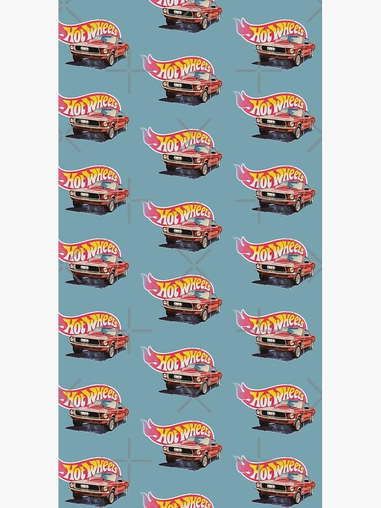 Mustang- 1968 Custom - Vintage, Distressed Hot Wheels  1968 Custom - Red Line by OffsetVinylFilm