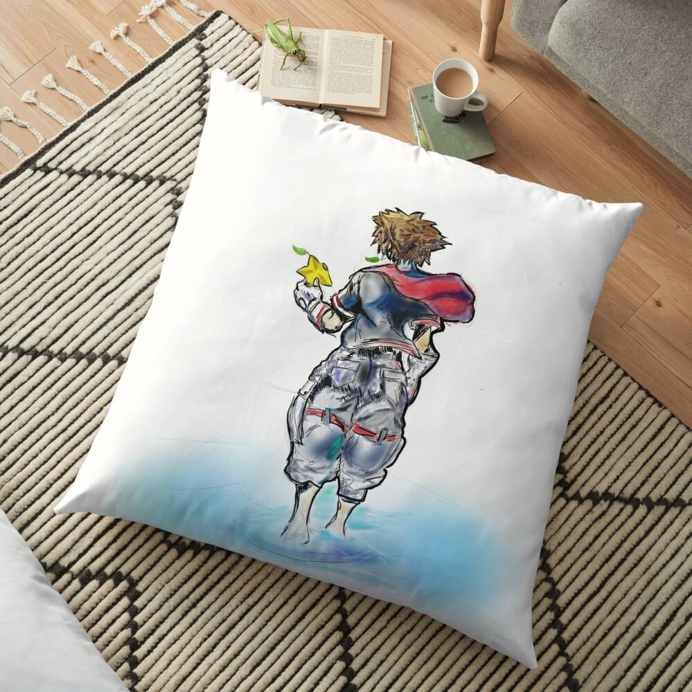 Sora Kingdom Hearts Digital Art  Floor Pillow