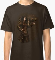 Steam Punk Girl Holding Antique Rocket Launcher Classic T-Shirt
