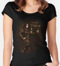Steam Punk Girl Holding Antique Rocket Launcher Women's Fitted Scoop T-Shirt