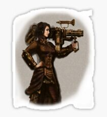 Steam Punk Girl Holding Antique Rocket Launcher Sticker