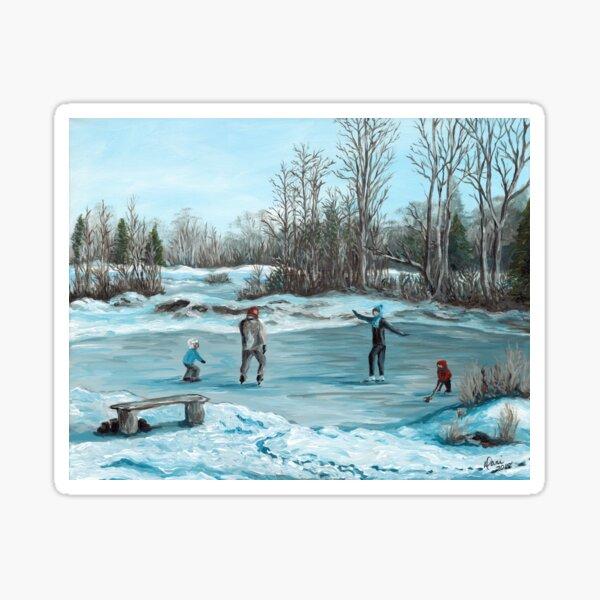 Family Skate on the Pond Sticker