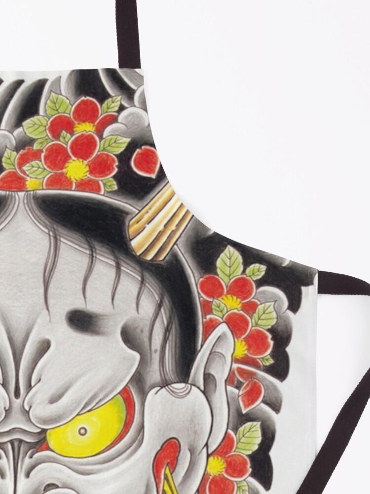 Alternate view of Goro Majima Hanya tattoo (with flowers) Apron