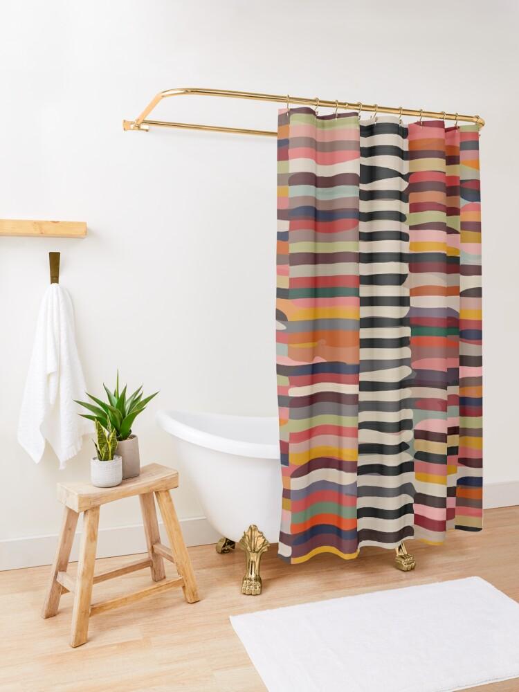 Alternate view of Etchnic Scandinavian Pattern Shower Curtain