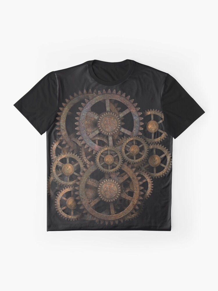 Alternate view of Infernal Vintage Steampunk Gears on your Gear Graphic T-Shirt