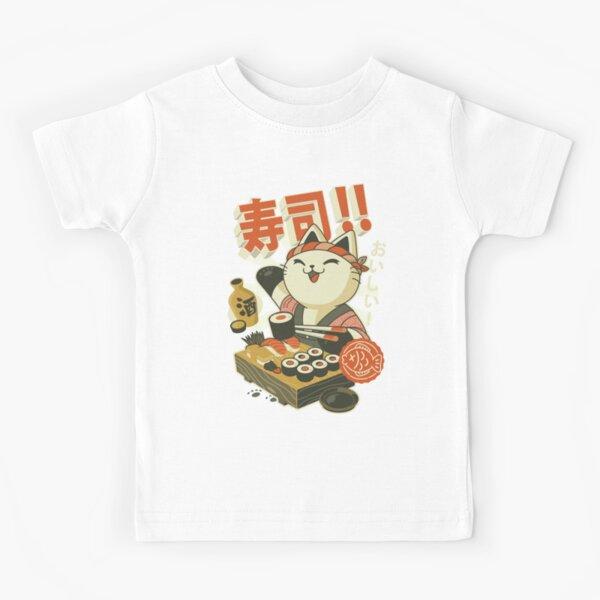 Retro Manga Sushi Cat Kids T-Shirt