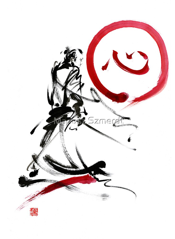 Samurai enso circle wild fury bushi bushido martial arts sumi-e  by Mariusz Szmerdt