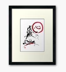 Samurai enso circle wild fury bushi bushido martial arts sumi-e  Framed Print