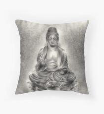 Buddha buddhist sumi-e tibetan calligraphy 禅 original ink painting artwork Throw Pillow