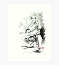 Karate martial arts kyokushinkai Masutatsu Oyama japanese kick japan ink sumi-e Art Print