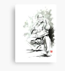 Karate martial arts kyokushinkai Masutatsu Oyama japanese kick japan ink sumi-e Canvas Print