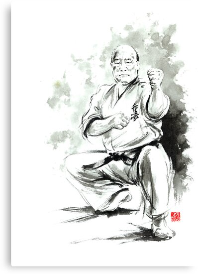 Karate martial arts kyokushinkai Masutatsu Oyama japanese kick japan ink sumi-e by Mariusz Szmerdt
