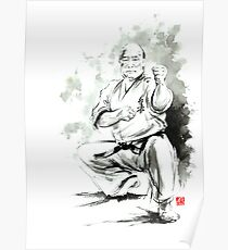 Karate martial arts kyokushinkai Masutatsu Oyama japanese kick japan ink sumi-e Poster