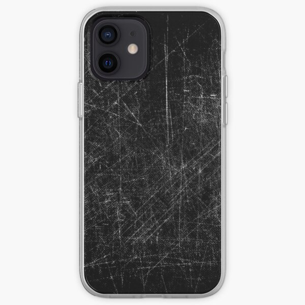 Black and white grungy scratches iPhone Soft Case