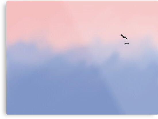 Rose Quartz And Serenity Sky Metal Prints By Platypusdoodles