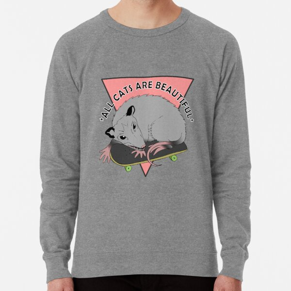 all cats are beautiful | skateboarding opossum Lightweight Sweatshirt