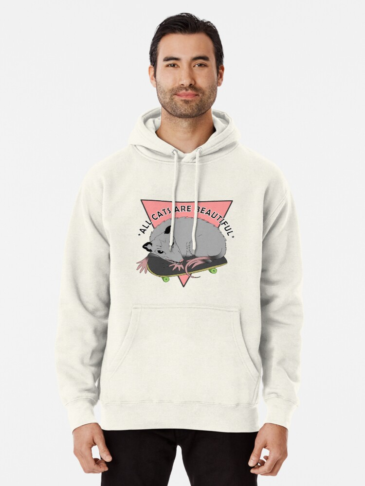 Alternate view of all cats are beautiful | skateboarding opossum Pullover Hoodie