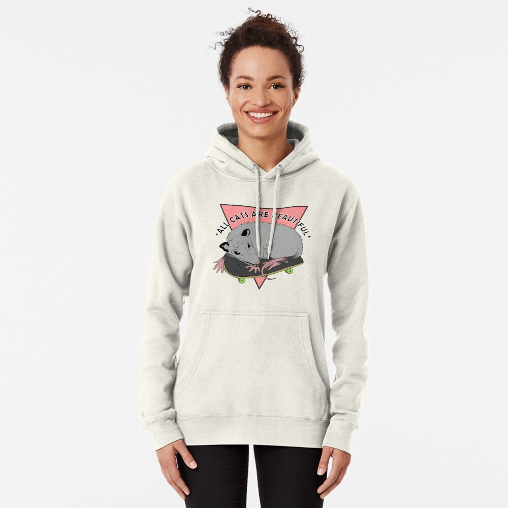 all cats are beautiful | skateboarding opossum Pullover Hoodie