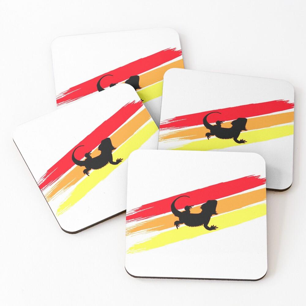 3 Stripe Rainbow Bearded Dragon Coasters (Set of 4)