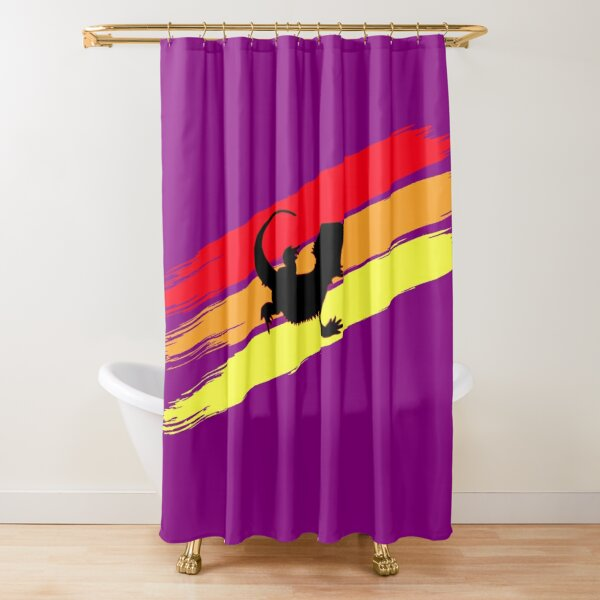 3 Stripe Rainbow Bearded Dragon Shower Curtain