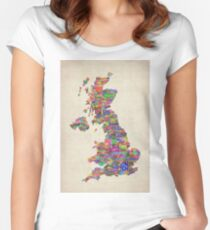 Great Britain UK City Text Map Women's Fitted Scoop T-Shirt