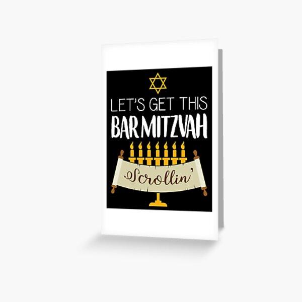 Divertido diseño judío de Menorah Scroll Bar Mitzvah Tarjetas de felicitación