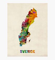 Sweden Watercolor Map Photographic Print