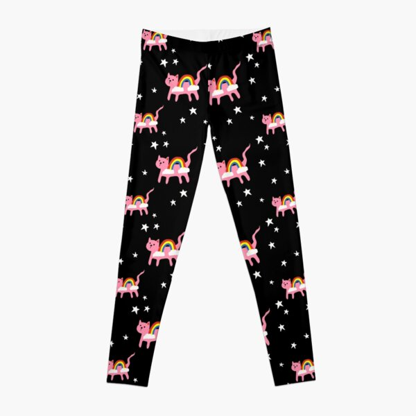Pink Rainbow Cats in Space  Leggings