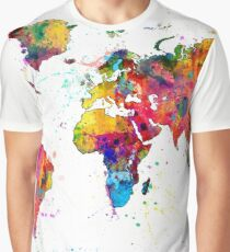 Map of the World Map Watercolor Graphic T-Shirt