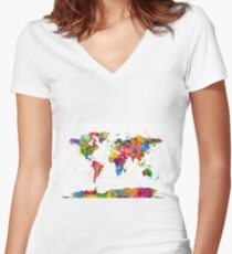 Map of the World Map Watercolor Women's Fitted V-Neck T-Shirt