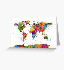 Map of the World Map Watercolor Greeting Card