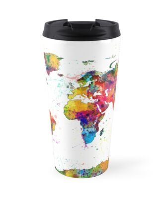 Map of the world map watercolor travel mugs by michael tompsett map of the world map watercolor by michael tompsett gumiabroncs Image collections