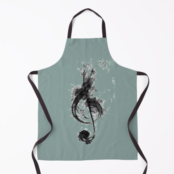 Abstract Black G Clef Treble Clef Music Note Pattern Apron