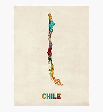 Chile Watercolor Map Photographic Print