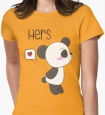 """""""His & Hers"""" Panda (Couple Shirts) Boy Version Womens Fitted T-Shirt"""