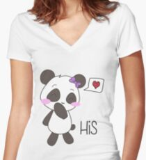"""His & Hers"" Panda (Couple Shirts) Girl Version Women's Fitted V-Neck T-Shirt"