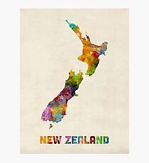 New Zealand, Watercolor Map Photographic Print