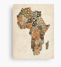 Typography Text Map of Africa Canvas Print