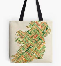 Ireland Eire City Text map Tote Bag