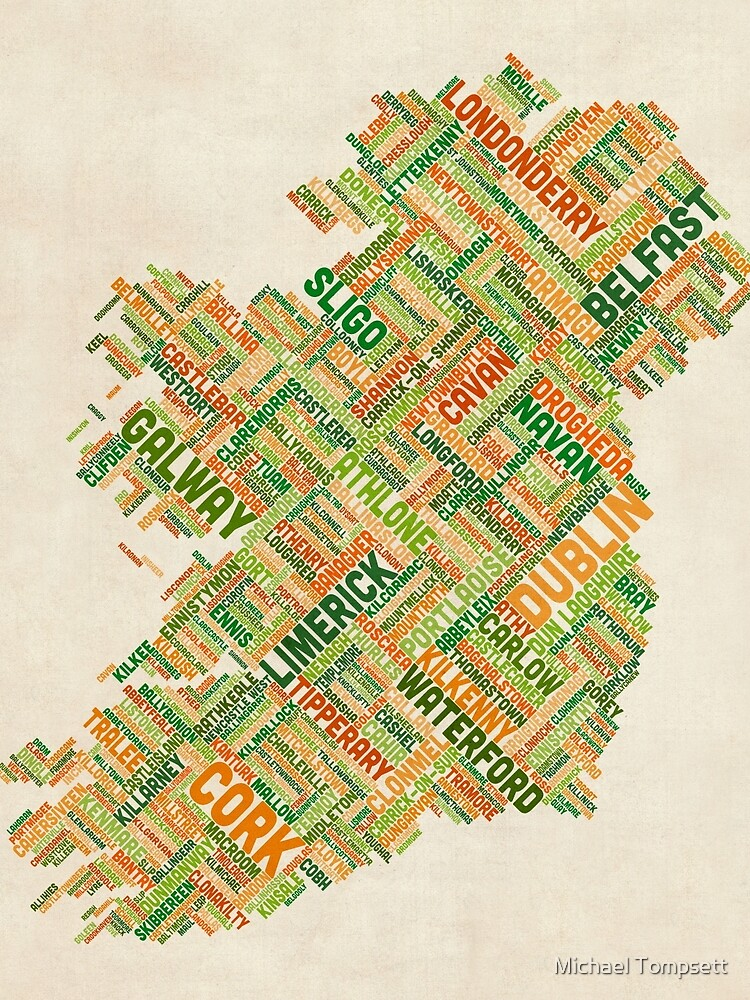 Irland Eire City Textkarte von ArtPrints