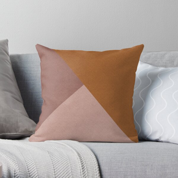 Shades of Pink with faux Brown Leather texture design Throw Pillow
