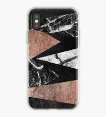Elegant Modern Marble, Rose Gold, & Black Foil Triangles iPhone Case