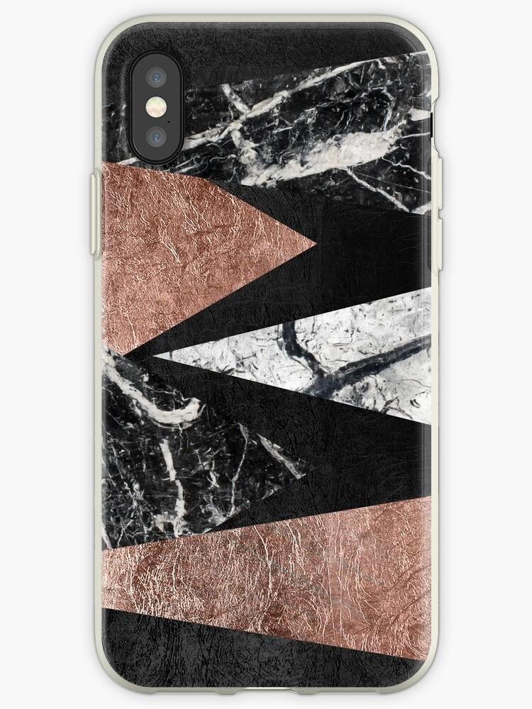 Elegant Modern Marmor, Rose Gold & Schwarz Folie Dreiecke von Blkstrawberry