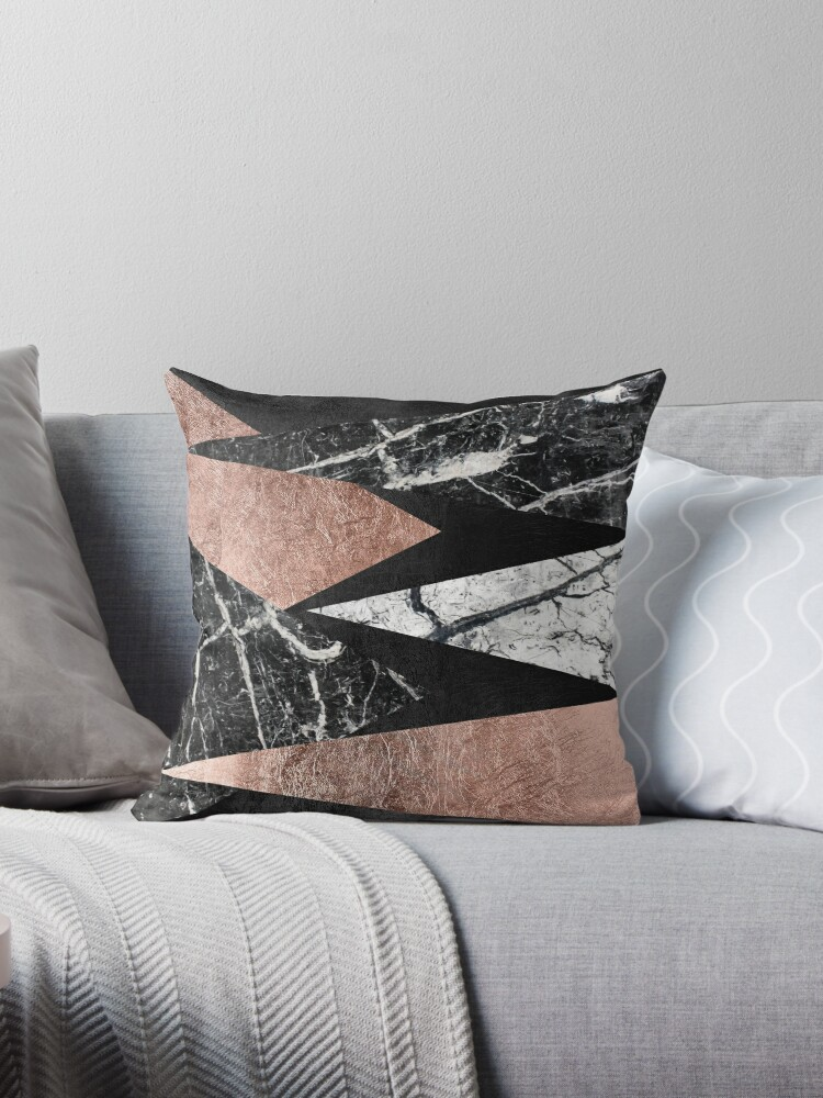 Elegant Modern Marble Rose Gold Black Foil Triangles Throw Pillow By Blkstrawberry Redbubble