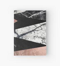 Elegant Modern Marmor, Rose Gold & Schwarz Folie Dreiecke Notizbuch