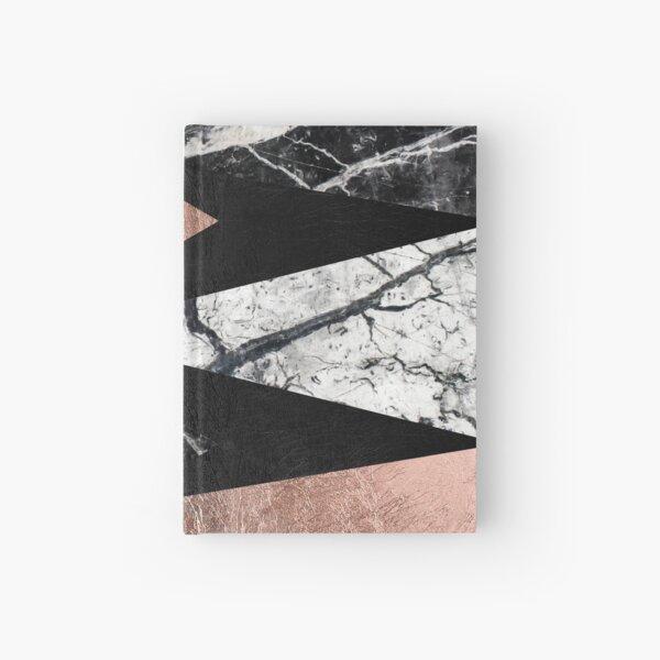 Elegant Modern Marble, Rose Gold, & Black Foil Triangles Hardcover Journal
